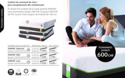 Économisez jusqu'à 600 CHF sur toute la gamme TEMPUR et recevez 2 produits offerts ! (uniquement jusqu'au 31/08/2021)